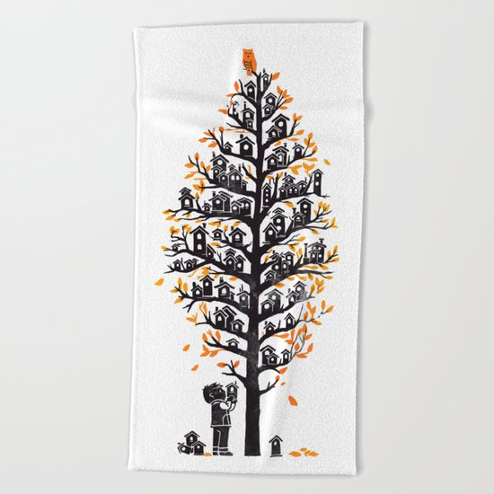Hoot Lodge Beach Towel