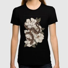 Snake and Magnolias MEDIUM Womens Fitted Tee Black