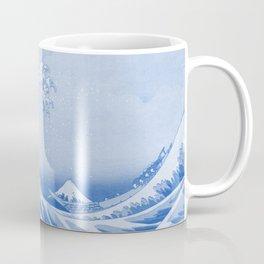 Cerulean Blue Porcelain Glaze Japanese Great Wave Coffee Mug