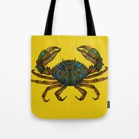 crab Tote Bags featuring CRAB by Claire Cousins