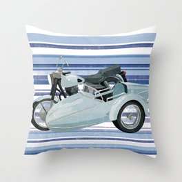 Motorbike and sidecar Throw Pillow