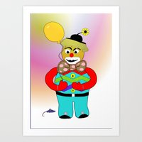 clown Art Prints featuring Clown by LoRo  Art & Pictures