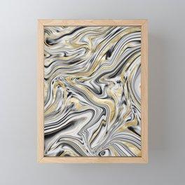 Gray Black White Gold Marble #1 #decor #art #society6 Framed Mini Art Print