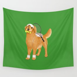 Ready for Tennis Practice (Green) Wall Tapestry