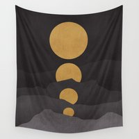 calm Wall Tapestries featuring Rise of the golden moon by Picomodi
