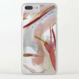 Lightly: an abstract mixed media piece in pinks, green, red, black and white Clear iPhone Case