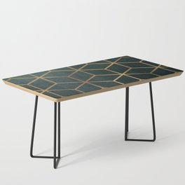 Dark Teal and Gold - Geometric Textured Gradient Cube Design Coffee Table