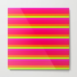 Sunset Stripes Hot Pink Orange Yellow Ombre Metal Print