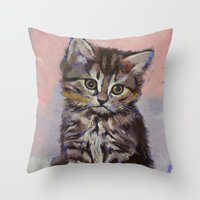 kitten Throw Pillows featuring Kitten by Michael Creese