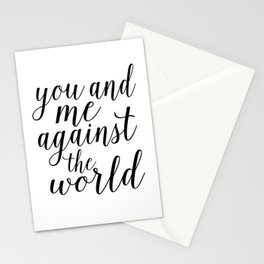 YOU AND ME Against The World,Love Art,Love Sign,Love Gift,Valentines Gift,Quote Prints,Bo Stationery Cards