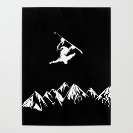 Rocky Mountain Snowboarder Catching Air Poster