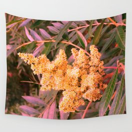 Pale Yellow and Green Sideways Sumac Wall Tapestry