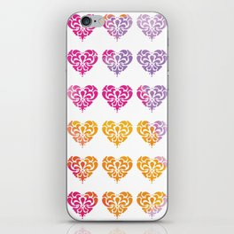 Rainbow Watercolor Damask Heart iPhone Skin