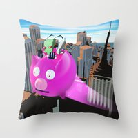 invader zim Throw Pillows featuring Invader Zim by inusualstuff