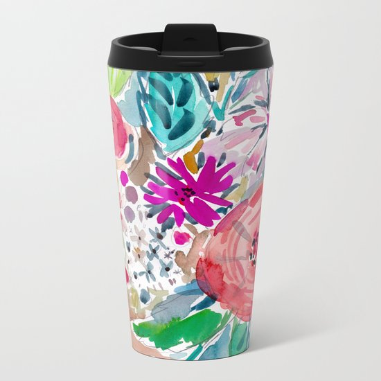 High by the Beach Painterly Floral Metal Travel Mug