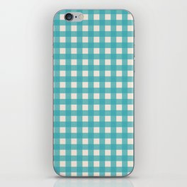 Buffalo Checked Plaid in Turquoise and Cream iPhone Skin