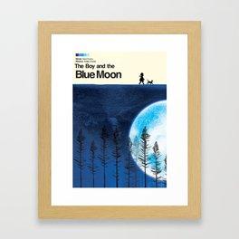 The Boy and the Blue Moon Framed Art Print