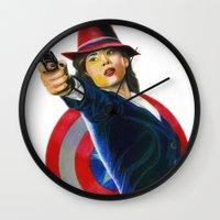 peggy carter Wall Clocks featuring Peggy Carter by Farah Jayden