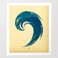 - blue 'davy jones' wave - Art Print
