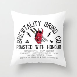 Brewtality Grind Co. X Salt Clothing Co. Samurai Design Throw Pillow
