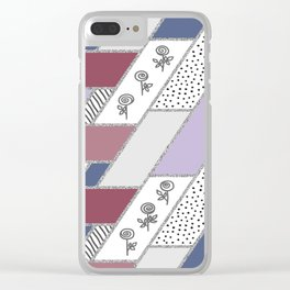 Abstract hand drawn geometric pattern with glitter pink and blue Clear iPhone Case