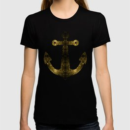 Yellow Gold sparkles Anchor on Dark navy blue T-shirt