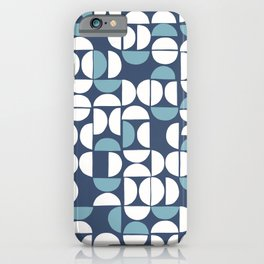 Geometric moon pattern 9 Classic Blue iPhone Case