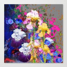 PINK-YELLOW PURPLE IRIS GARDEN GREY ART Canvas Print