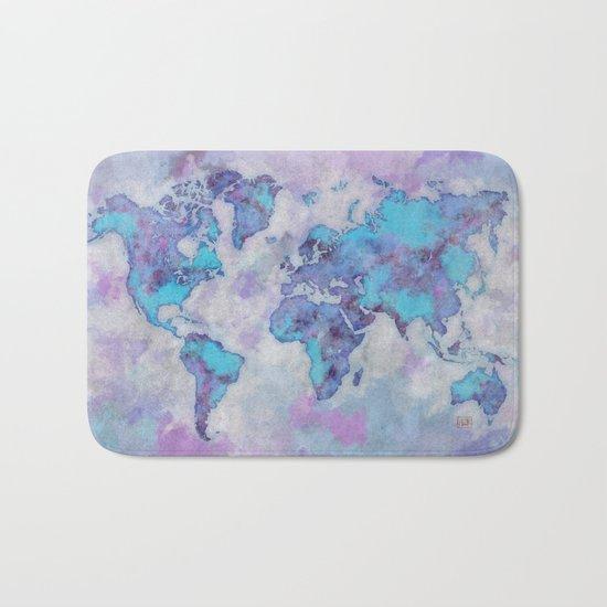 World Map Purple Bath Mat