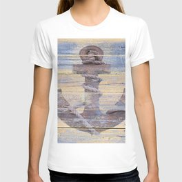 Rusty Anchor Grey Blue Beach Lake House Coastal Home Decor A177 T-shirt