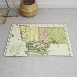 1797 Colonial Era Map of Rhode Island and Narragansett Bay Rug