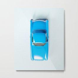Vintage Blue Car on White Metal Print