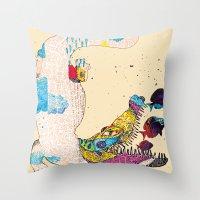 crocodile Throw Pillows featuring Crocodile by DON'T NEED NO SAMURAI