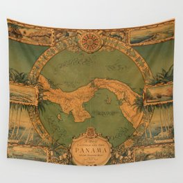 Historical Map of Panama Wall Tapestry