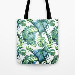 Blue Jungle Leaves, Monstera, Palm #society6 Tote Bag
