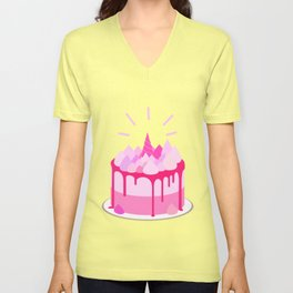 Berry cake with meringues and a horn Unisex V-Neck