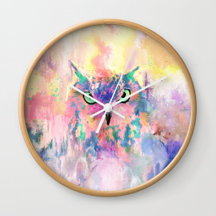 Watercolor eagle owl abstract paint Wall Clock