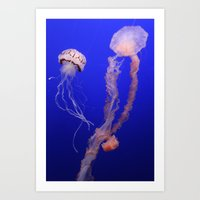 jelly fish Art Prints featuring jelly fish by Bunny Noir