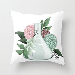 Floral Erlenmeyer Flask Throw Pillow