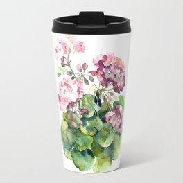 Watercolor pink geranium flowers aquarelle Travel Mug