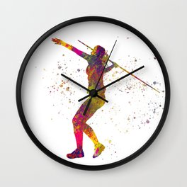 Javelin throw in watercolor.Sports Wall Clock