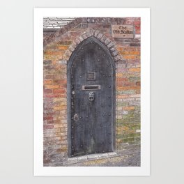 The Old Stables - Black wooden door with lion-head clapper Art Print