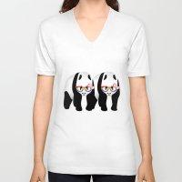 lesbian V-neck T-shirts featuring Lesbian  Gay Pride Pandas by mailboxdisco