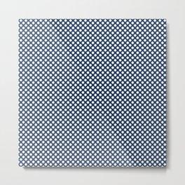 Navy Peony and White Polka Dots Metal Print