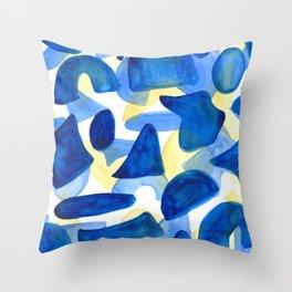Layered Blues Throw Pillow