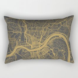Cincinnati map ocher Rectangular Pillow