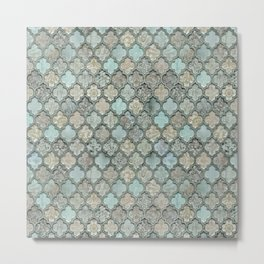 Old Moroccan Tiles Pattern Teal Beige Distressed Style Metal Print
