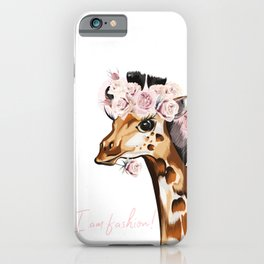 Fashion vector illustration with giraffe and roses. I am style iPhone Case