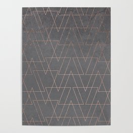 Modern rose gold geometric triangles blush pink abstract pattern on grey cement industrial Poster