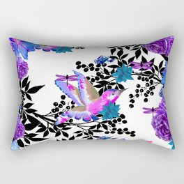 TOIL BLACK LEAF PALM PURPLE ROSES AND HUMMINGBIRDS Rectangular Pillow